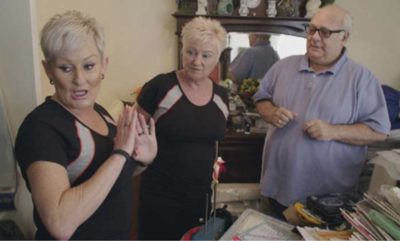 Screenshot from Hoarders TV programme showing the Declutter Divas