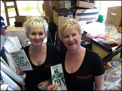 Zoe and Allyson helping out Macmillan volunters.